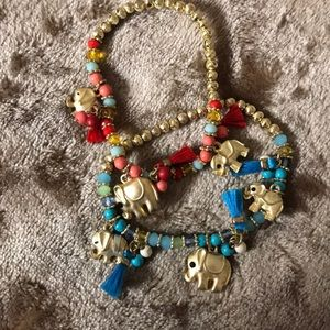 Matching Elephant Charm Bracelets